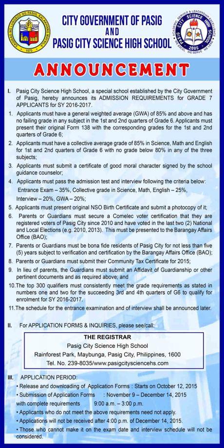 announcement grade 7